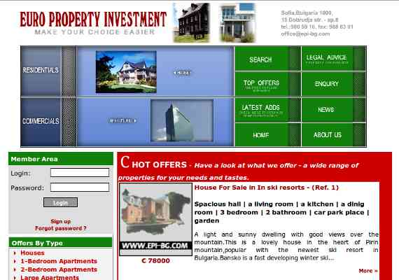 Real estates and properties web site plus back-end administration